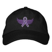 Pancreatic Cancer Ribbon Wings v2 Embroidered Baseball Cap
