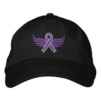 Pancreatic Cancer Ribbon Wings v2 Embroidered Baseball Caps
