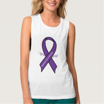 Pancreatic Cancer Ribbon with Wings Tank Top
