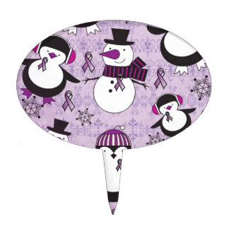 Pancreatic Cancer SNOWMAN Products Cake Topper
