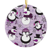 Pancreatic Cancer SNOWMAN Products Ceramic Ornament