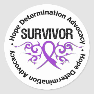 Pancreatic Cancer Survivor Tribal Ribbon Round Stickers