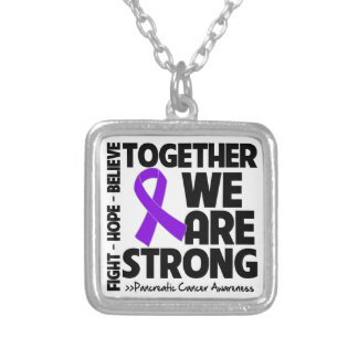 Pancreatic Cancer Together We Are Strong Square Pendant Necklace