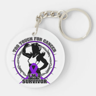 Pancreatic Cancer Too Tough For Cancer Double-Sided Round Acrylic Keychain