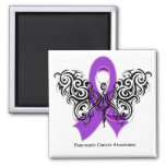 Pancreatic Cancer Tribal Butterfly Ribbon Magnet