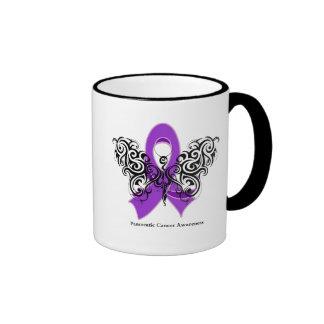 Pancreatic Cancer Tribal Butterfly Ribbon Mugs