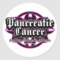 Pancreatic Cancer Tribal Classic Round Sticker