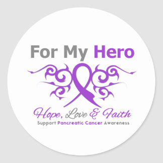 Pancreatic Cancer Tribal Ribbon Hero Stickers