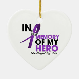 Pancreatic Cancer Tribute In Memory of My Hero Ceramic Ornament