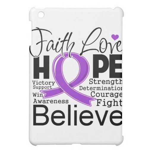 Pancreatic Cancer Typographic Faith Love Hope iPad Mini Cases