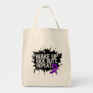 Pancreatic Cancer Wake Up Kick Butt Repeat Grocery Tote Bag