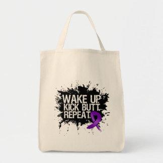 Pancreatic Cancer Wake Up Kick Butt Repeat Tote Bag