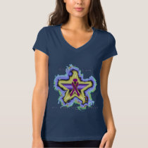 Pancreatic Cancer Wish Star Ladies Jersey V-Neck T T-Shirt