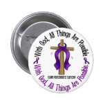 Pancreatic Cancer WITH GOD CROSS 1 Pinback Buttons