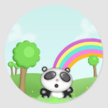 Pand a Bear in Colorful Fields Stickers