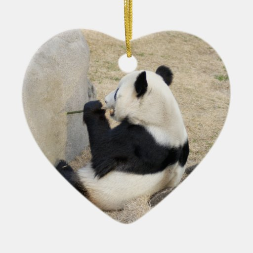 panda105 Double-Sided heart ceramic christmas ornament