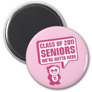 Panda 2011 Senior Pink 2 Inch Round Magnet
