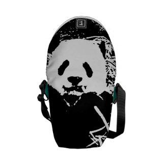 "Panda adorable ""blanco y negro"" monocromática bolsa messenger"