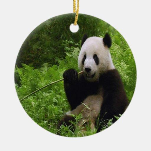 Panda Adorno Navideño Redondo De Cerámica