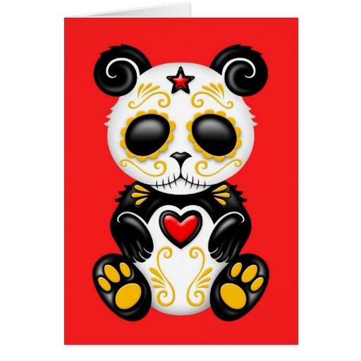 Panda amarilla del azúcar del zombi en rojo tarjetón