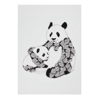 Panda and Baby With Tattoo Roses Pattern Posters