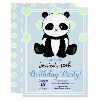 Panda and Blue Polka Dots Birthday Party Invitation