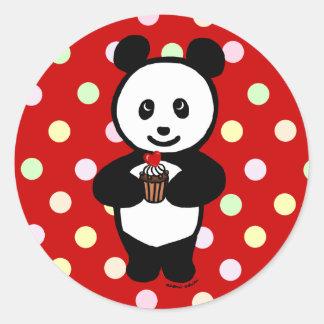 Panda and Cupcake Cartoon Round Stickers