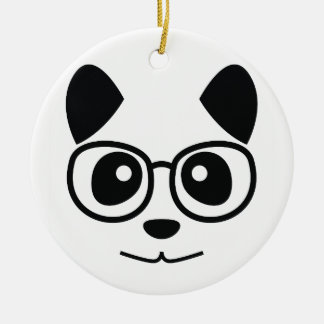 Panda and eye glass ceramic ornament