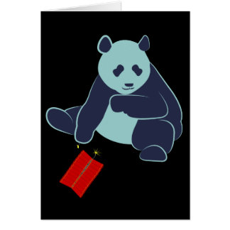 Panda and Fireworks Greeting Card