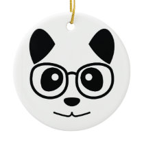 Panda And Glasses Ceramic Ornament