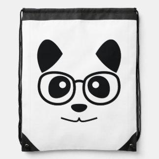 Panda And Glasses Drawstring Backpack
