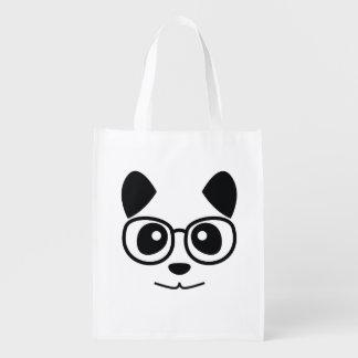 Panda And Glasses Reusable Grocery Bag