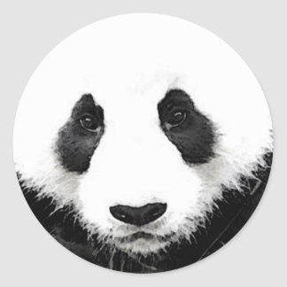 Panda Artwork Round Sticker Black & White Pop Art