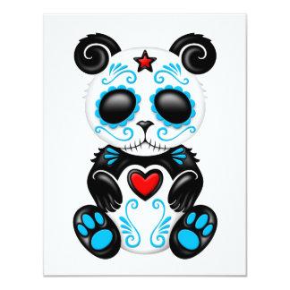 Panda azul del azúcar del zombi en blanco invitacion personalizada