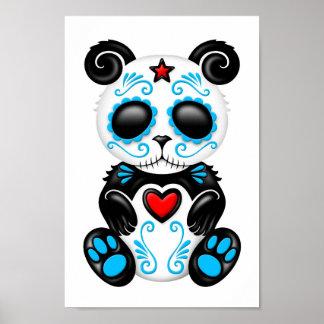 Panda azul del azúcar del zombi en blanco poster