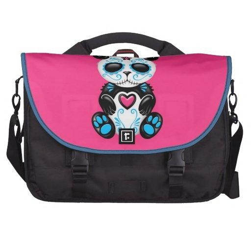 Panda azul del azúcar del zombi en rosa bolsas para portatil
