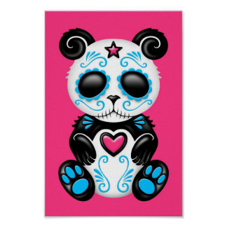 Panda azul del azúcar del zombi en rosa poster
