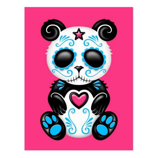 Panda azul del azúcar del zombi en rosa tarjeta postal
