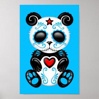 Panda azul del azúcar del zombi poster