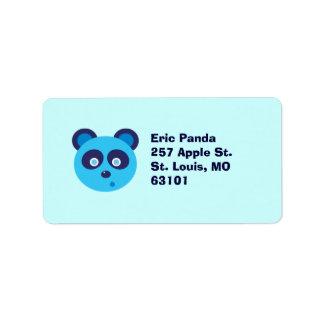 Panda azul etiqueta de dirección