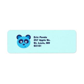 Panda azul etiqueta de remitente