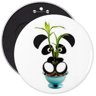 Panda baby and bamboo 6 inch round button
