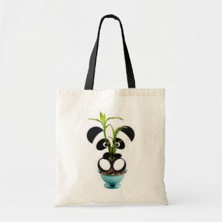 Panda baby and bamboo tote bag