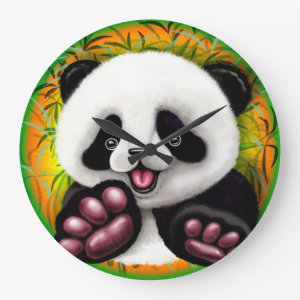 Panda Baby Bear Cute and Happy Large Clock