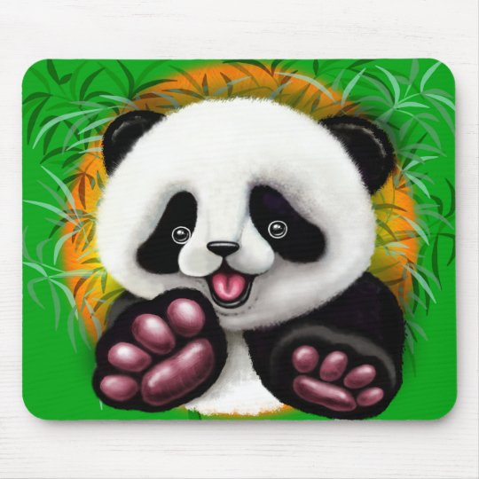 Panda Baby Bear Cute and Happy Mouse Pad