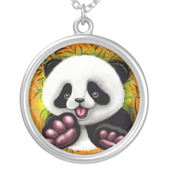 Panda Baby Bear Cute and Happy Silver Plated Necklace