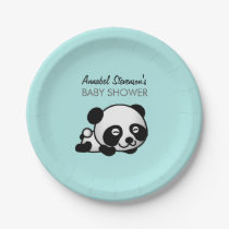 Panda Baby Boy Shower Paper Plate