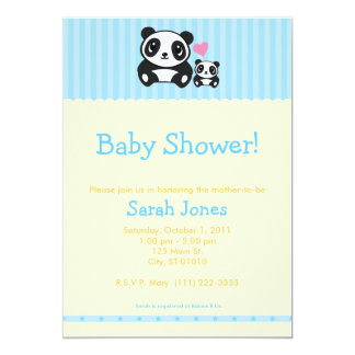 Panda Baby Shower - Blue & Orange Card