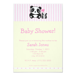 Panda Baby Shower - Pink & Cream Card