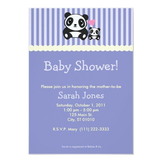 Panda Baby Shower - Purple Card